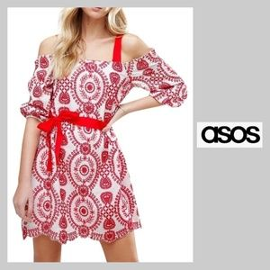ASOS off shoulder embroidered dress red/white sz 4